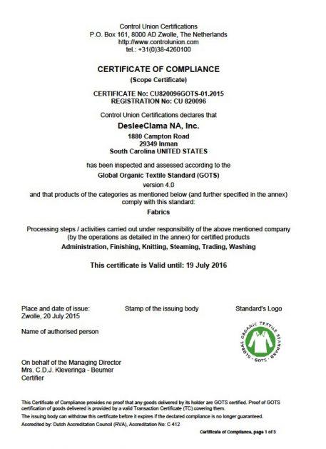 organic doubleknit certification