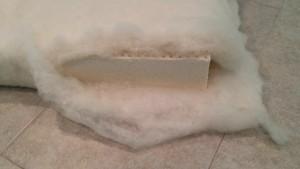 wool batting wrap, around latex cushion